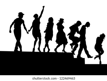 drawing silhouettes of actors on stage