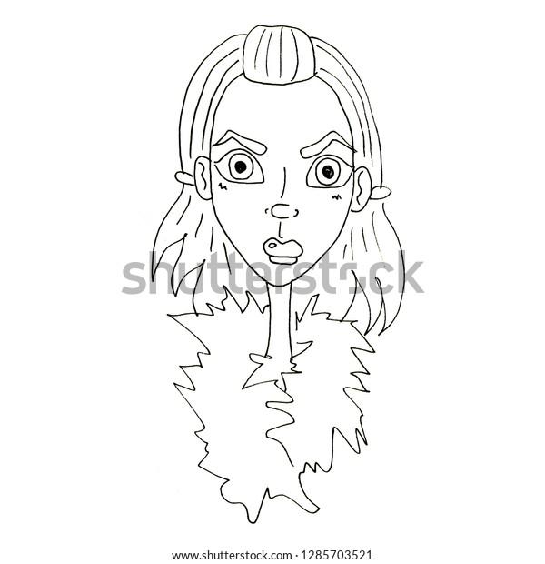 Drawing Simple Illustration Beautiful Girl Sketch Stock