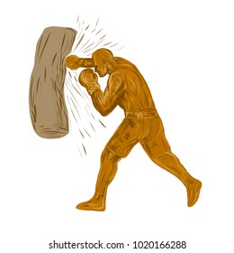 Drawing sketch style illustration of a boxer, pugilist or prize fighter punching a bag viewed from side on isolated background.