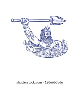 Drawing sketch style illustration of Triton, a Greek god, the messenger of the sea, son of Poseidon and Amphitrite, wielding trident on sea with waves on isolated white background.