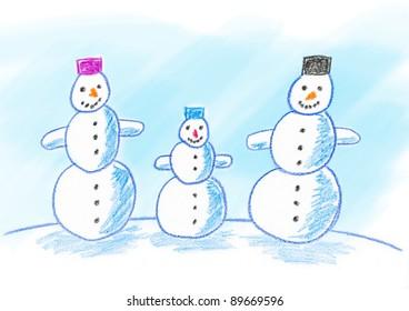 Drawing of snowmen