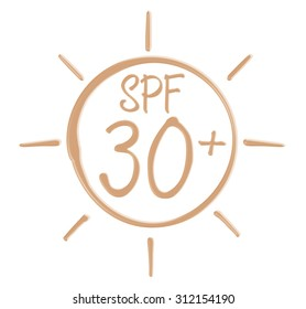 Drawing SPF 30+ icon from sunscreen lotion on isolated background.