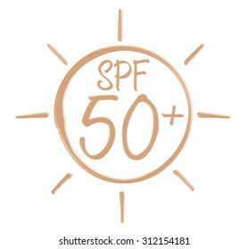 Drawing SPF 50+ icon from sunscreen lotion on isolated background.