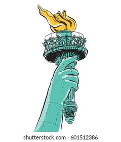 Drawing the Statue of Liberty holding a torch