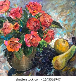Drawing of tasty fruits on plate, roses. Picture contains an interesting idea, evokes emotions, aesthetic pleasure. Canvas stretched on a stretcher, oil natural paints. Concept art painting texture
