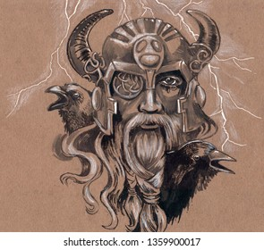 Drawing of Thor with a Raven on his shoulder.