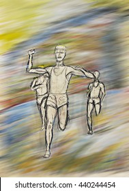 Drawing of three male athletes, sports men running, racing , competition inspired art illustration for figures, muscles, body, power, strength, endurance, stamina, speed, perseverance, winning