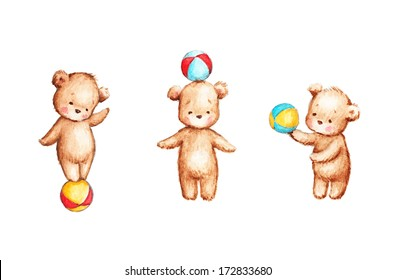 The drawing of Three Teddy Bears with Colorful Balls