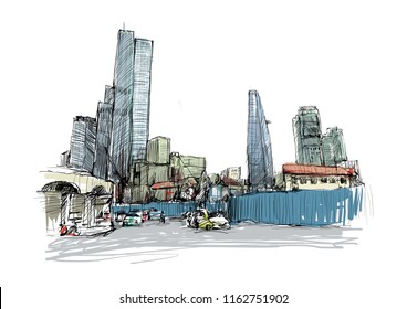 Drawing of townscape show Ho Chi Minh city at Saigon Central Market know locally as Ben Thanh, Vietnam