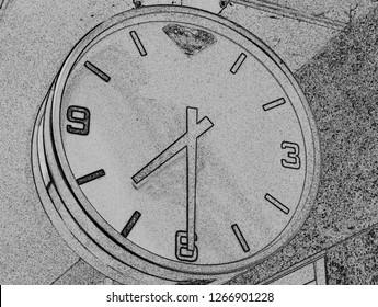 Drawing of a urban clock
