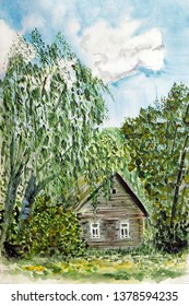 Drawing of a village house among the trees in the summer against the blue sky.