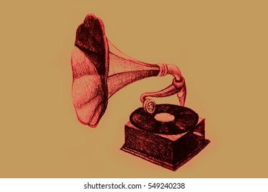 Drawing of vintage gramophone. Illustration