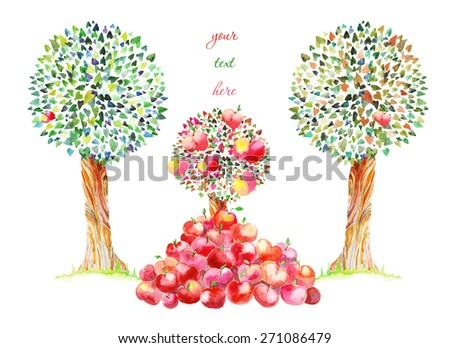 drawing watercolor apples fall trees stock illustration 271086479