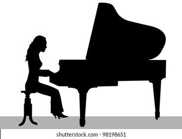 drawing of a woman playing piano on stage