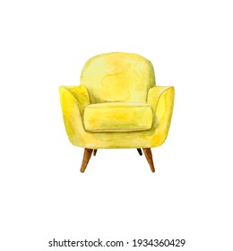 Drawing of a yellow chair. Watercolour drawing. Colored furniture.