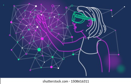 Drawing of young woman wearing virtual reality glasses touching the air. Futuristic style illustration.