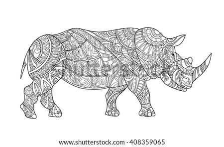 Drawing Zentangle Rhino Coloring Page Rhinoceros Stock Illustration