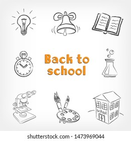Drawings back to school. Education drawn signs lamp idea ring book easel microscope test tube stopwatch building on white background. Lesson drawing black sketch objects