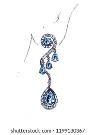 Drawings, jewelry, diamond earrings and blue gems on paper with coloring on beautiful pictures.