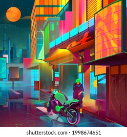drawn bright fantastic cityscape with motorcycle and man