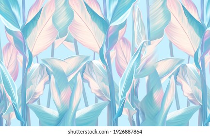 Drawn exotic tropical leaves on bright wall. Floral background. Design for wallpaper, photo wallpaper, mural, card, postcard.