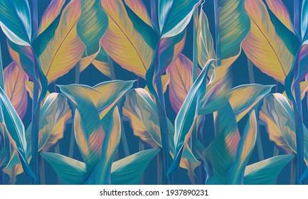 Drawn exotic tropical leaves on blue wall. Floral background. Design for wallpaper, photo wallpaper, mural, card, postcard.