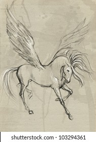 Drawn with hands on paper a winged horse Pegasus