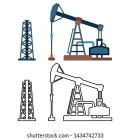 Drawn Industrial Equipment Oil Pump Rig Set . Colorful And Monochrome Design Drilling Rig Derrick Gaz Petrolium Production. Pumpjack Energy Business Construction Flat Cartoon Illustration