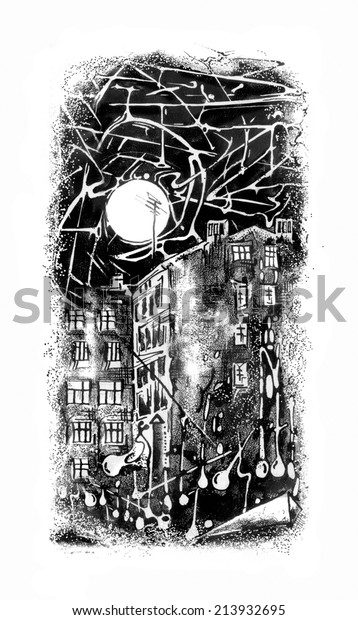 Drawn in ink with the Moon and night town houses