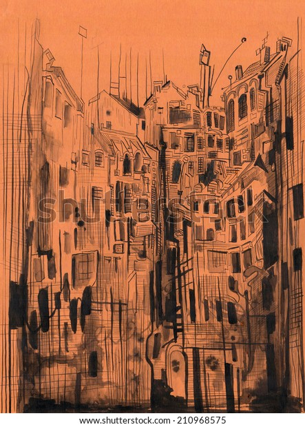 Drawn in ink on red paper, urban landscape