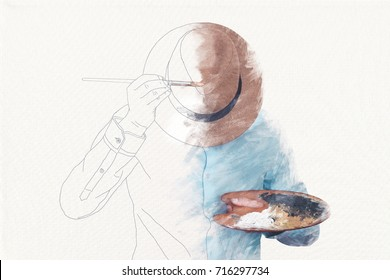 drawn man painting himself