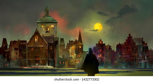 drawn vintage urban lunar landscape at night with a man in a top hat