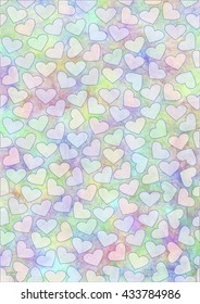 Drawn watercolor background with hearts.Template for letter or greeting card. A4 size format. Series of Watercolor, Pastel, Backgrounds and Cards,Blanks,Templates..