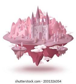 Dream castle on fantasy island pink landscape hovering in the air 3d creative childhood dream concept, isolated on white