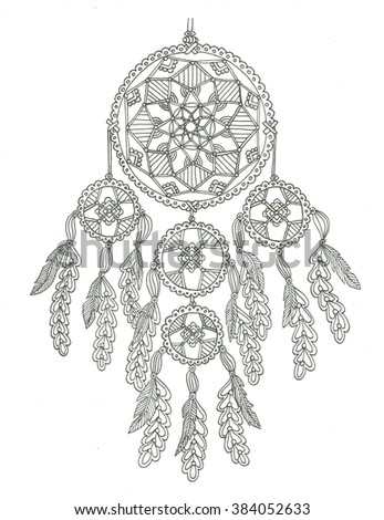 dream catcher coloring page stock illustration 384052633 shutterstock
