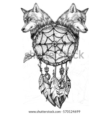 Dream Catcher Wolf Head Pencil Drawing Stockillustration 40 Best Wolf Head Dream Catcher
