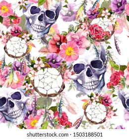 Dream catchers, human skulls, dead heads in flowers, feathers and dreamcatcher. Repeating background. Watercolor in bohemian boho style