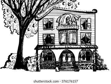 Dream House Black And White Illustration Of With Tree Woman In The Attic