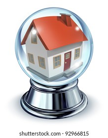 Dream house in a crystal ball transparent glass sphere and a chrome metal base on a white for housing and real estate home predictions in interest rates and mortgage finances for a residence.