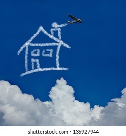 Dream house made of clouds in the sky by a skywriter