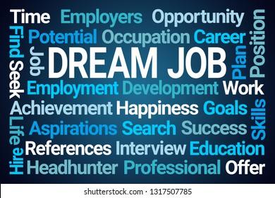 Dream Job Word Cloud on Blue Background