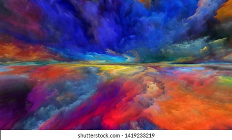 Dream Land series. Abstract design made of digital colors on the subject of Universe, Nature, landscape painting, creativity and imagination