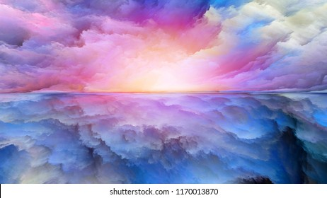 Dream Land series. Arrangement of digital colors on the subject of Universe, Nature, landscape painting, creativity and imagination