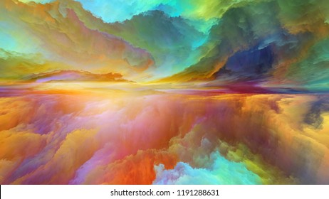 Dream Land series. Backdrop of digital colors on the subject of Universe, Nature, landscape painting, creativity and imagination