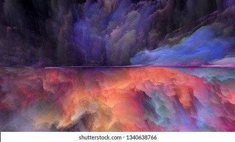 Dream Land series. Backdrop of  digital colors to complement your design on the subject of Universe, Nature, landscape painting, creativity and imagination