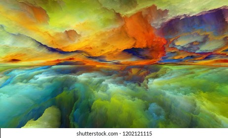 Dream Land series. Background design of digital colors on the subject of Universe, Nature, landscape painting, creativity and imagination