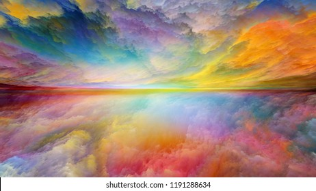 Dream Land series. Composition of digital colors with metaphorical relationship to Universe, Nature, landscape painting, creativity and imagination