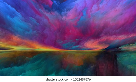 Dream Land series. Composition of  digital colors for projects on Universe, Nature, landscape painting, creativity and imagination