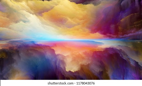 Dream Land series. Design composed of digital colors as a metaphor on the subject of Universe, Nature, landscape painting, creativity and imagination