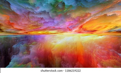 Dream Land series. Design made of digital colors to serve as backdrop for projects related to Universe, Nature, landscape painting, creativity and imagination